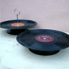 for birkie vinyls, vinyl record, craft, old records, cakes, cake stands, record cake, cake plates, parti