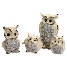 4 Piece Owl Family Set