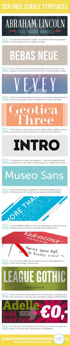 10 Free Staple Typefaces (Fonts) | | Nicoles Classes