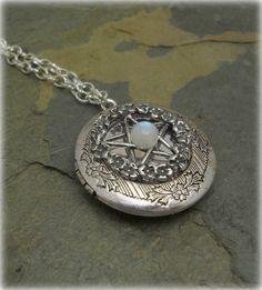 Victorian Pentacle Filigree Locket necklace with Moonstone ,Renaissance,,pagan,wiccan jewelry,metaphysical,new age,celtic jewelry on Etsy, $16.99