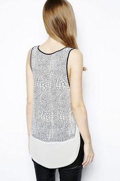 High Low Hem O-neck Printed Chiffon Vest