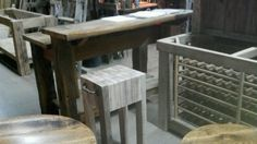 butcher block style bar stool of reclaimed barn wood oak.... with barn door handles.   we make and sell these!