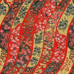 Chiyogami - Embroidered Ribbons in Red & Gold