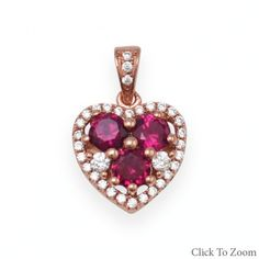 Red CZ Heart Rose Gold Pendant        Price: $34.95