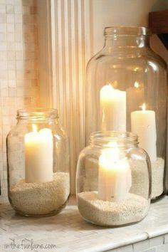 Centre de table mer : bougies & sable