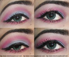 Pink Blue Eye makeup Tutorial