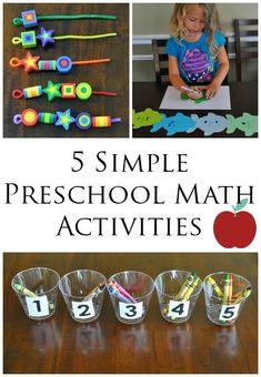 5 Simple Preschool Math Activities - Perfect for hand's on learning FUN! preschool math activities