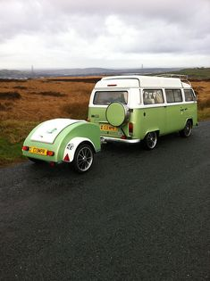 Type 2 VW bus and trailer
