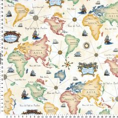 Value Priced Fabric - World Map on Cotton Fabric