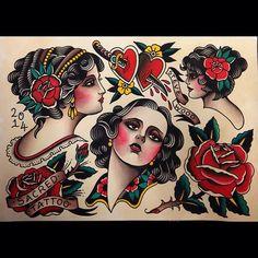 Steve Wood tattoo flash 2014 #traditional hearts, roses tattoo flash
