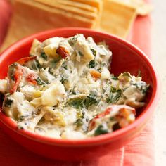 This Spinach-Artichoke Dip with Blue Cheese and Bacon is perfect for a game-day get-together! Recipe: http://www.bhg.com/recipe/appetizers-snacks/spinach-artichoke-dip-with-blue-cheese-and-bacon/?socsrc=bhgpin092412spinachartichokedip
