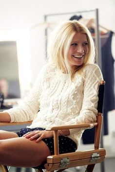 Gwenyth Paltrow's knit sweater & polka dot shorts