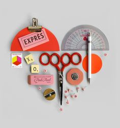 I love these little assemblages - especially when they involve office and art supplies.