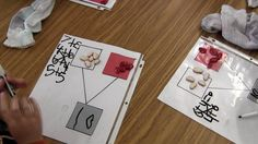 Number bond activity in a kindergarten classroom - using red and white beans.