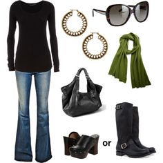 Black w/ green? clogs, closets, colors, black boots, comfy casual, casual outfits, shoe, green scarf, bags