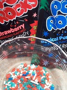 Pop Rocks mixed with sprinkles = Firecracker Frosting for cupcakes or cookies. Perfect surprise for the 4th of July!
