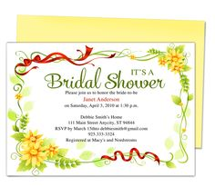 Ella Bridal Shower Invitations Templates, easy to download and edit in Word, OpenOffice, Publisher, Apple iWork Pages.