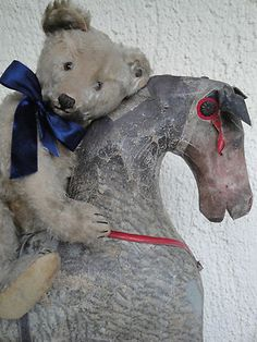EXPRESSIVE ANTIQUE STEIFF TEDDY BEAR 1920s w. ANTIQUE ROCKING HORSE 1880 CHEVAL  //  Gorgeous Duo found on Ebay
