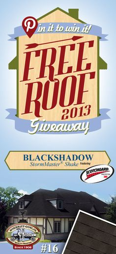 Re-pin this gorgeous StormMaster Shake Black Shadow Shingle for your chance to win in the Sherriff-Goslin Pin It To Win It FREE ROOF Giveaway. Available in Sherriff-Goslin service area only. Re-pin weekly for more chances to win! | Stay Updated! Click the following link to receive contest updates. http://www.sherriffgoslin.com/repin Learn More about this shingle here: http://www.sherriffgoslin.com/tabbed.php?section_url=142