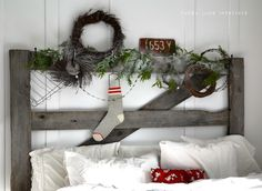 Day 6: An old gate headboard decked out for Christmas - via Funky Junk Interiors #12daysofchristmas