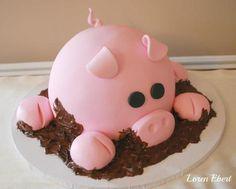 Piggy in the chocolate mud cake ♥ bake sheet, artists, birthday, animals, cakes, piggi cake, food, pigs, baking