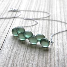 Pastel Necklace, Frosted Mint Green Glass Sterling Silver Necklace Spring Fashion Bridesmaid - Garden Party. $32.00 USD, via Etsy.