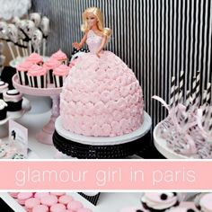 reminds me of a cake I made for my girls when they were little but not as cutet Girl Parties, Birthday Parties, Party Themes, Parti Theme, Doll Cakes, 5Th Birthday, Paris Party, Party Cakes, Parti Idea