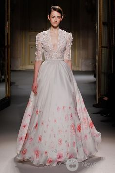Georges Hobeika Haute Couture 2013 // this romantic rose print wedding dress is offbeat lite, but still makes a big statement!