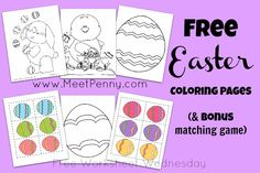 Free Easter Printable Coloring Sheets with BONUS Matching Game