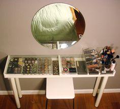 makeup vanities, makeup counter, makeup organization, dream, makeup storage, bead storage, vanity tables, ikea, diy makeup