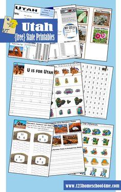 FREE utah worksheet for #preschool, #homeschool #socialstudies and family #roadtrips. Activities for 4-12 years olds.