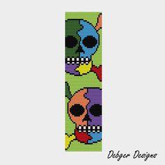 Rainbow Skull - Loom Bracelet Cuff Pattern (SAVING buy 2 - 3rd free ). $6.50, via Etsy.