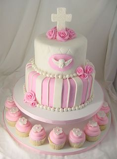 Girl Baptism Cake . Might try this for my little girls baptism so.cute