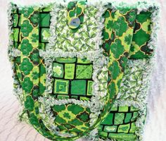 St. Patrick's Day rag quilt tote on Etsy