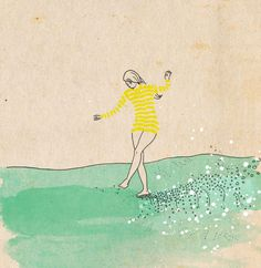 Water dancer   ink watercolour & collage by IllustrationsbyEmily