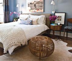 modern bedroom- minus wicker ball thing.