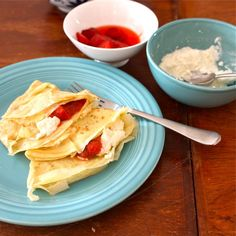 Under the High Chair: Whey Crepes with Homemade Ricotta & Rhubarb Compote