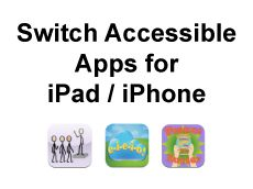 Switch Accessible Apps for iPad and iPhone FREE Download containing two lists of switch accessible Apps. Those that aren't primarily designed for AAC and those that are http://www.senict.com/resources/switch-accessible-apps-for-ipad-and-iphone
