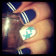 star fish, starfish nails, nail arts, summer nails, nail design, beach nails, sailor, stripe, nautical nails