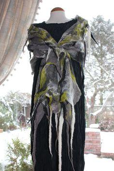 Art To Wear  Nuno felted silk wool shawl  Grey, green,white  & black by Angelab5705