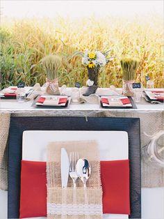 Burlap and lace wedding table decor ideas. Event Design: Fairy Godmother ---> http://www.weddingchicks.com/2014/06/04/country-burlap-and-lace-wedding/