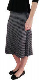 Striped Rayon Skirt - Black/Gray - $19 at DCM Apparel
