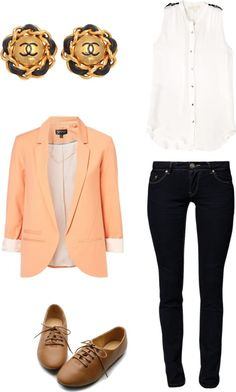 candy color blazer, skinny jeans, white shirt
