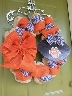 I need this!!!  WAR EAGLE!   Auburn Tigers Burlap Football Wreath by CurlyQsCreation on Etsy, $65.00