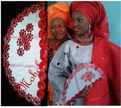 A Yoruba bride from the western part of Nigeria beautifully adorned in the traditional wedding outfit (called Aso-Oke) for her Traditional Wedding. One of my creative designs,handfan inclusive! :-)