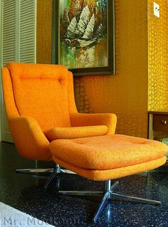 Overman swivel chair and ottoman