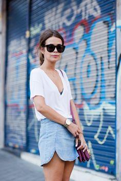 white tee + chambray skirt.