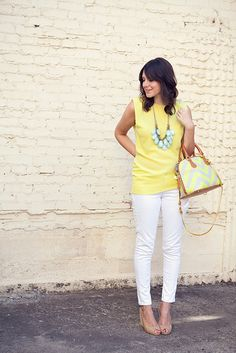 Yellow tank, turquoise necklace, white capris