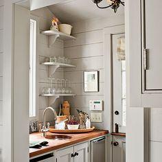 open shelving and Dutch door.