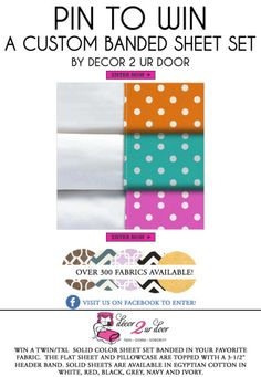 Pin To Win A Custom Banded Sheet Set by Decor 2 Ur Door | Sorority and Dorm Room Bedding